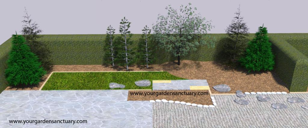 Backyard Japanese garden with dwarf Hinoki cypress added.