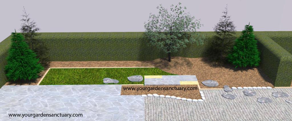 Residential Japanese garden with Japanese maple added