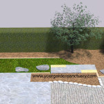 Residential Japanese garden with Japanese maple added