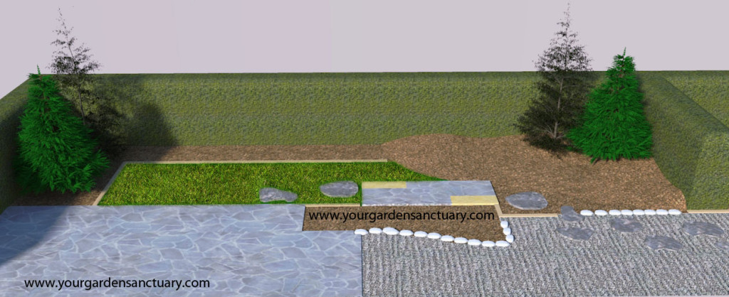 Residential Japanese garden with Korean firs added