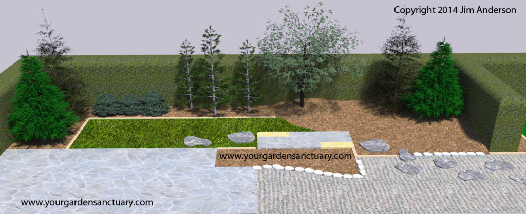 Japanese garden birds nest spruce added