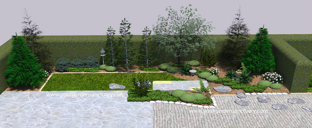Small backyard Japanese garden with lantern and birdhouse added