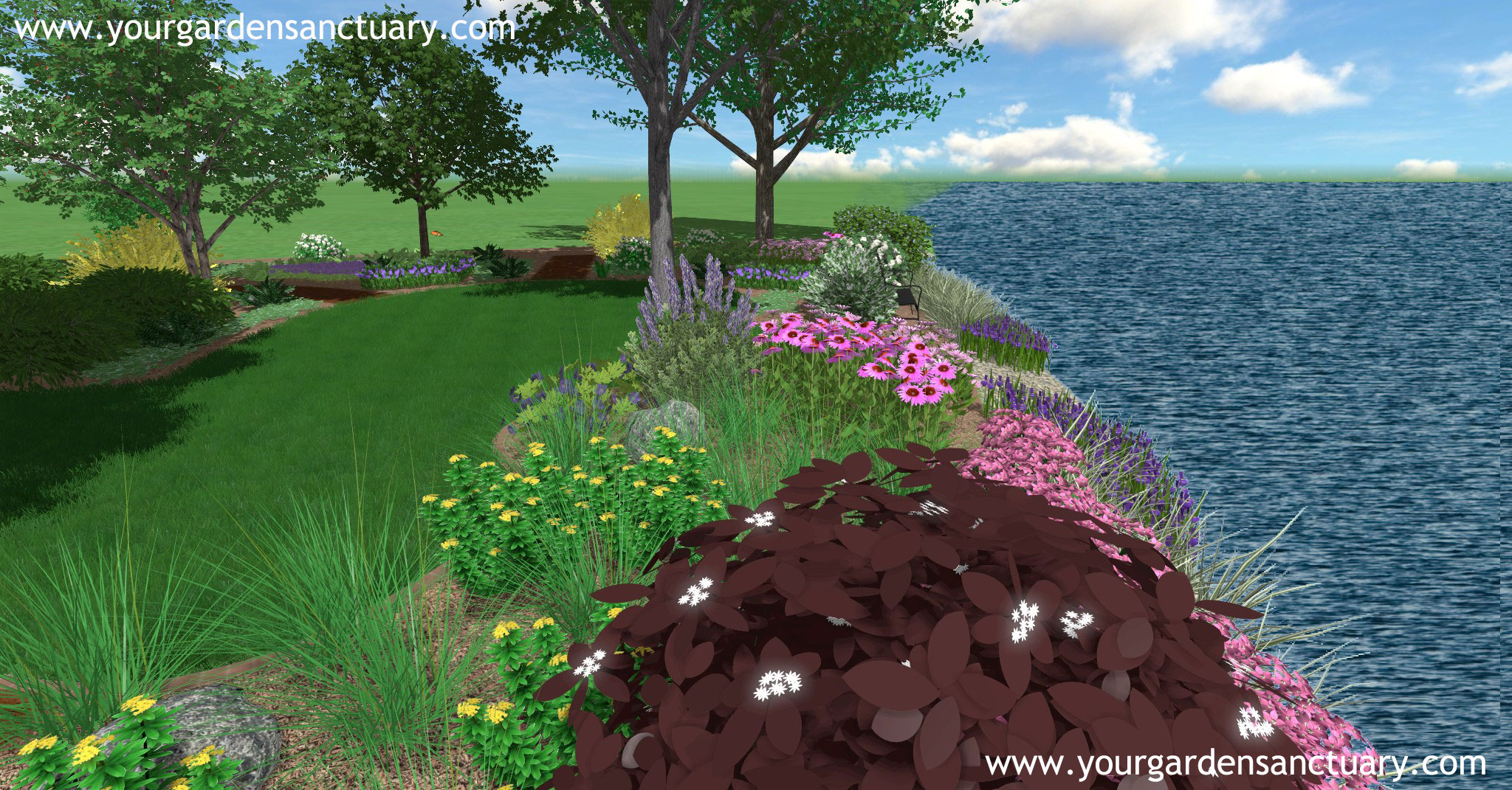 Side view of shoreline landscape design