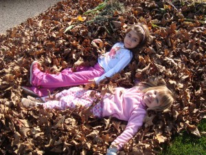 Children playing in a pile of leaves.