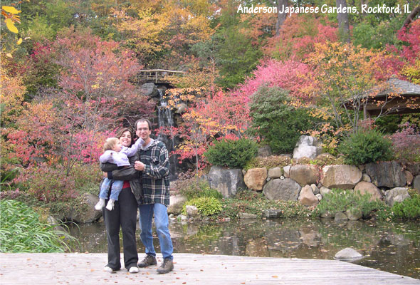 Japanese garden fall color at the big waterfall area