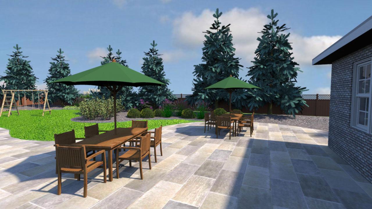 Curvilinear landscape design view 4