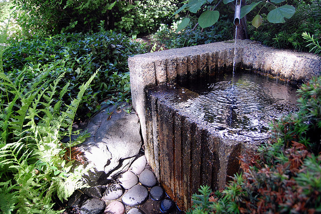 Japanese garden basin water feature
