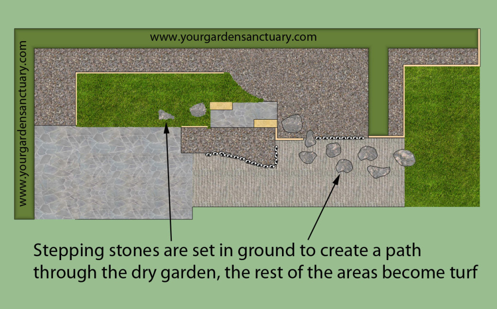 Japanese garden for small backyard with stepping stones added
