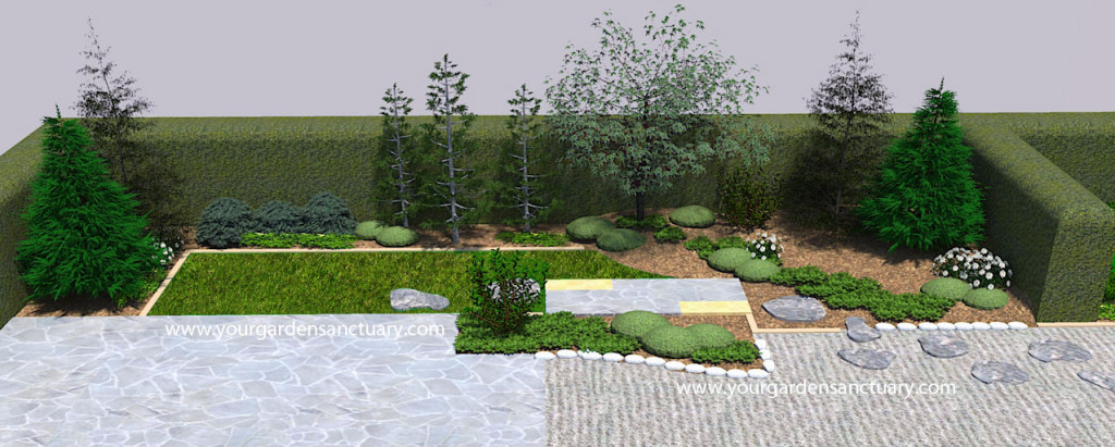 Japanese garden with ground cover and perennials added