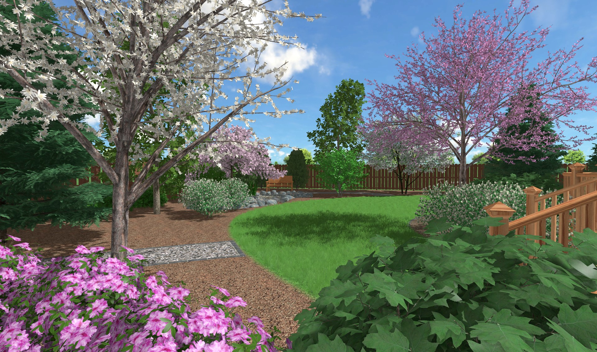 ecological backyard with four season interest