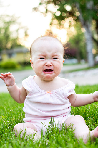 Landscaping for your grandchildren - crying baby in grass photo