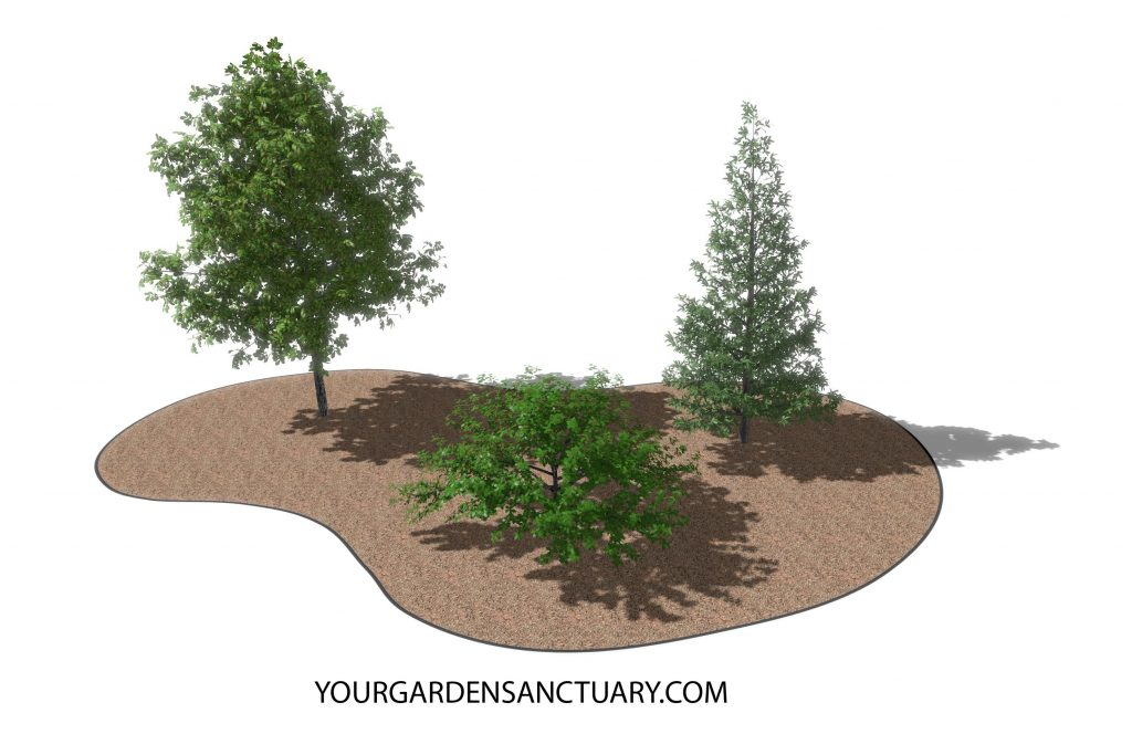 Wildlife friendly garden Trees added shown in perspective